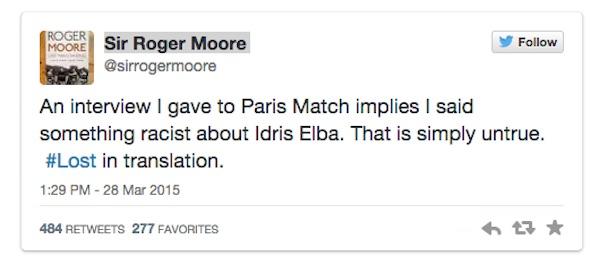 Idris Elba Roger Moor tweet
