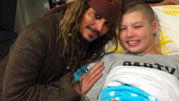 Johnny Depp as  Jack Sparrow at a Children's Hospital Australia 607 2