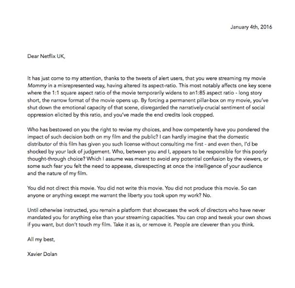 Xavier Dolan letter Netflix 607