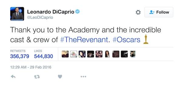 Leonardo DiCaprio Oscar Tweet