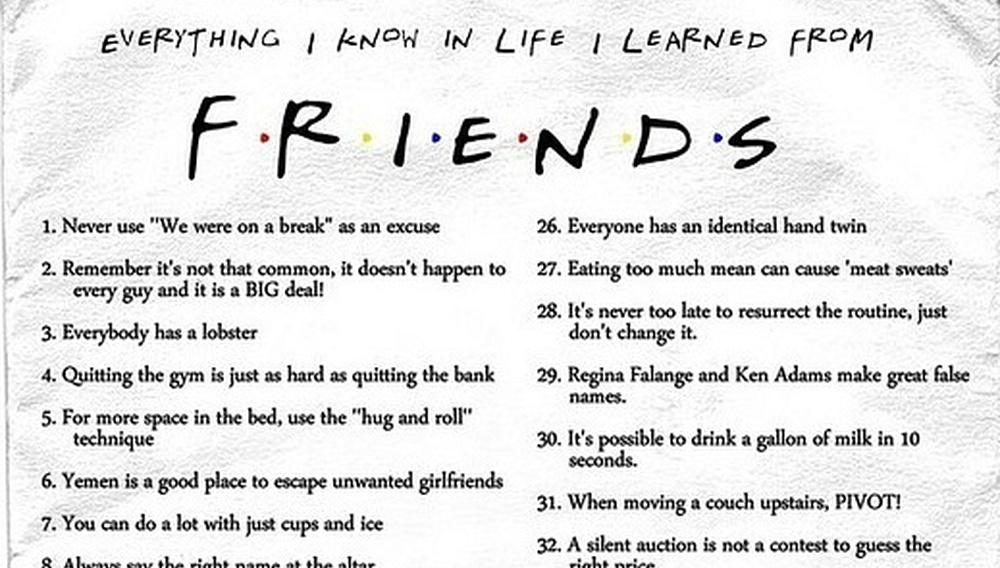 Ο,τι ξέρω στη ζωή, το έμαθα από τα «Φιλαράκια»!