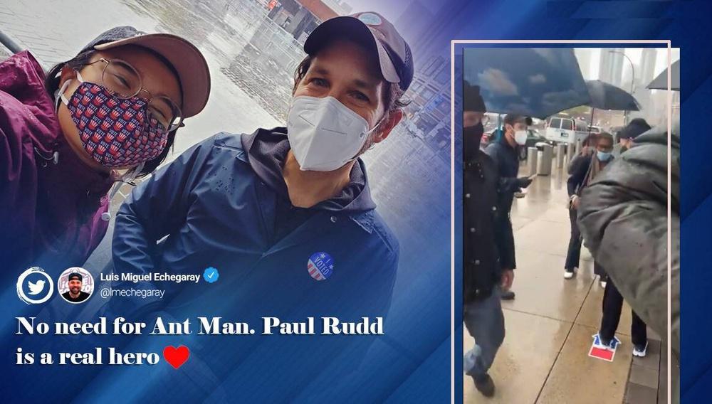 Μέσα στη βροχή, ο Πολ Ραντ μοιράζει μπισκότα σε εκλογικό κέντρο του Μπρούκλιν